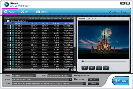 iSkysoft DVD Rippre Software - Main Screenshot