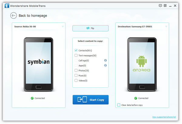 Symbian to Android Transfer - connect phone