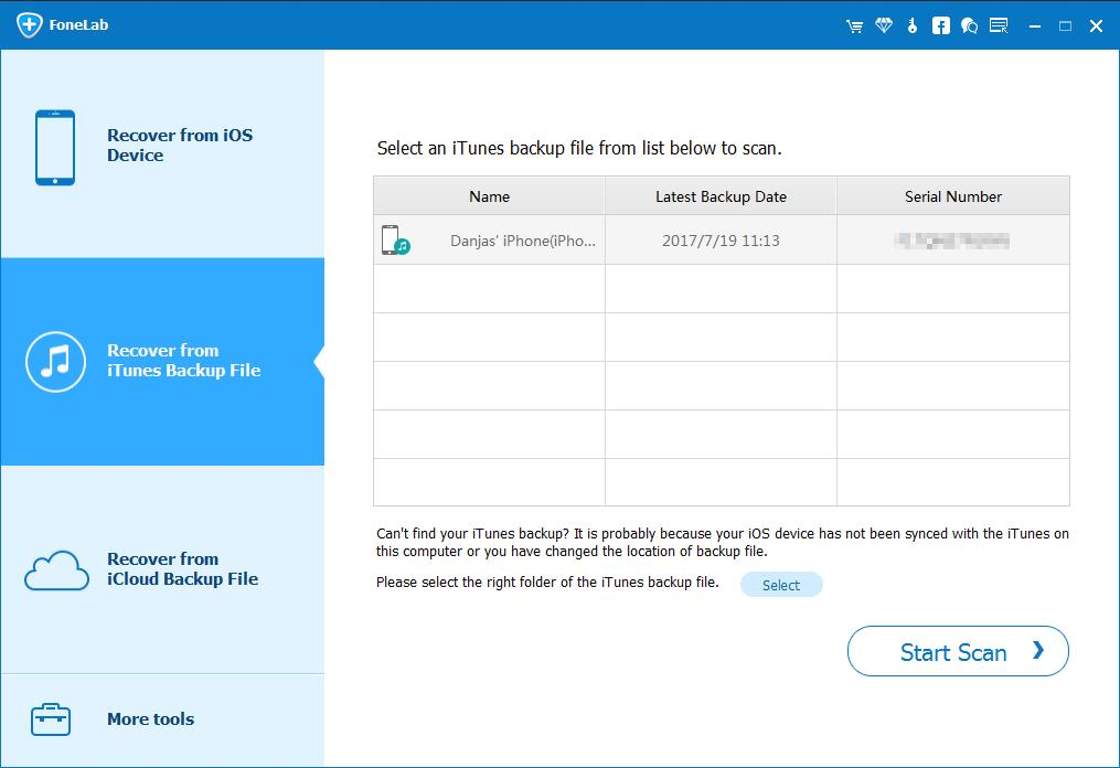 Recover deleted SMS from iTunes backup