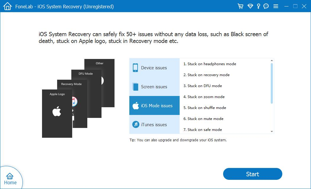 get iPhone out of Recovery Mode - Start